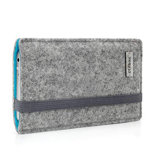 stilbag Handyhülle 'Finn' für Microsoft Lumia 650 - Farbe: hellgrau/Azur | Smartphone-Tasche aus Filz | Handy Schutzhülle | Handytasche Made in Germany