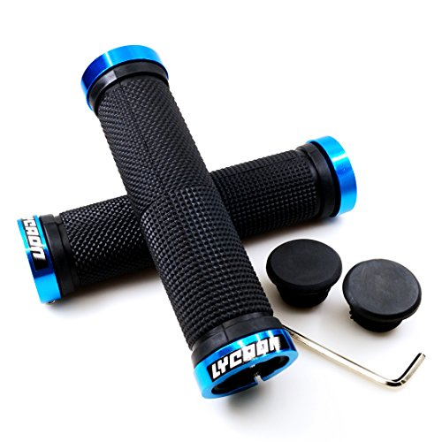 LYCAON Bike Handlebar Grips, Non-Slip Rubber Bicycle Handle Grip with Aluminum Lock, Bike Hand Grip for Scooter Cruiser Urban Bike Tricycle Wheel Chair MTB BMX (Blue)