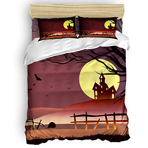 Bedding Duvet Cover 4 PCS Set – Soft Breathable Microfiber Quilt for Adults Kids Teen – Luxurious & Hypoallergenic Lightweight Comforter Cover, Halloween - Full
