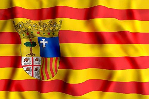 Oedim Bandera de La Comunidad de Aragón 85x150cm | Reforzada y con Pespuntes| Bandera de La Comunidad de Aragón con 2 Ojales Metálicos