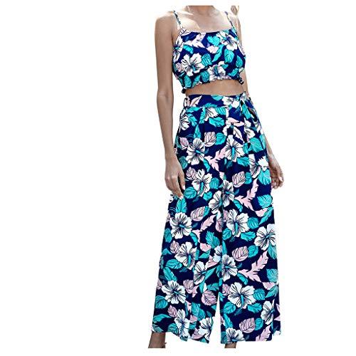 Dasongff Jumpsuit voor dames, tweedelige outfits, voor vrouwen, bloesemprint, jumpsuit, crop top en wijde been, lange broek, overall party, rompers, zomer, strand, elegant Hawaii carnaval Medium blauw