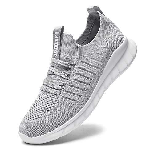 Falechay Laufschuhe Damen Turnschuhe Herren Sneaker Sportschuhe Joggingschuhe Walkingschuhe Traillauf Fitness Schuhe Straßenlaufschuhe Freizeitschuhe für Outdoor Hellgrau 45 (012)