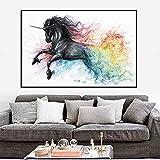 Schöne Karikatur Pferd Leinwand Ölgemälde abstrakte Tier Wandkunst Poster Home Decoration Gemälde,Rahmenlose Malerei,75x103cm