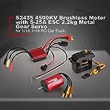 S2435 4500KV Motor sin escobillas KS25A 25A ESC 2.2g Servo 1/10 RC Car Set Brushless Combo Set para 1/16 1/18 RC Car