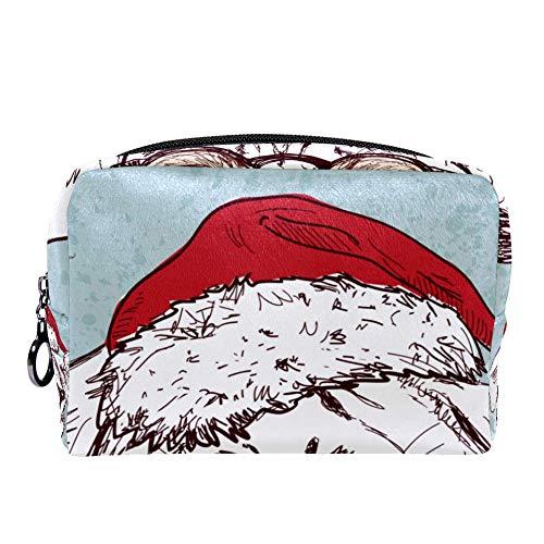 TIZORAX - Bolsa de maquillaje para mujer, diseño de Papá Noel, estilo hipster, con cremallera