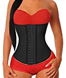 YIANNA Waist Trainer for Women Underbust Latex Sport Girdle Corsets Cincher Hourglass Body Shaper, (Black,L)