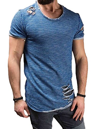 Men's Short Sleeve Crew Neck Slim Fit Fitness T-Shirt Tops with Ripped Holes (Blue, US-L)