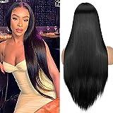 YEESHEDO Peluca de mujer Negra Recta Natural Pieza pequeña Encaje Frontal Parte lateral Pelo sintético Disfraz Cosplay Lace Front Black Wig 26 pulgadas