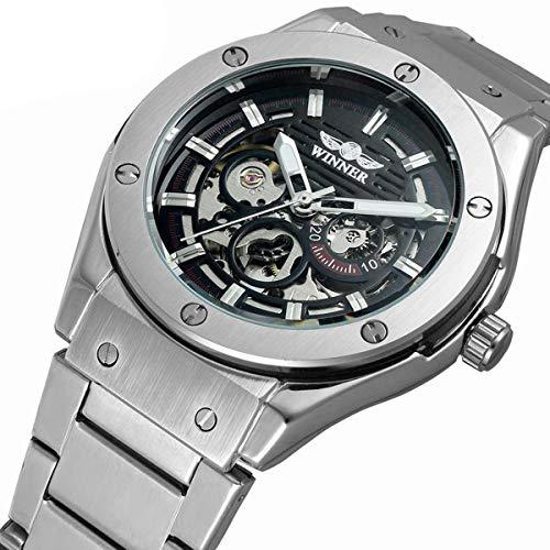 Winner Herren Uhr Automatik Mechanische Automatikuhr Skelett Edelstahl Armbanduhren,Black