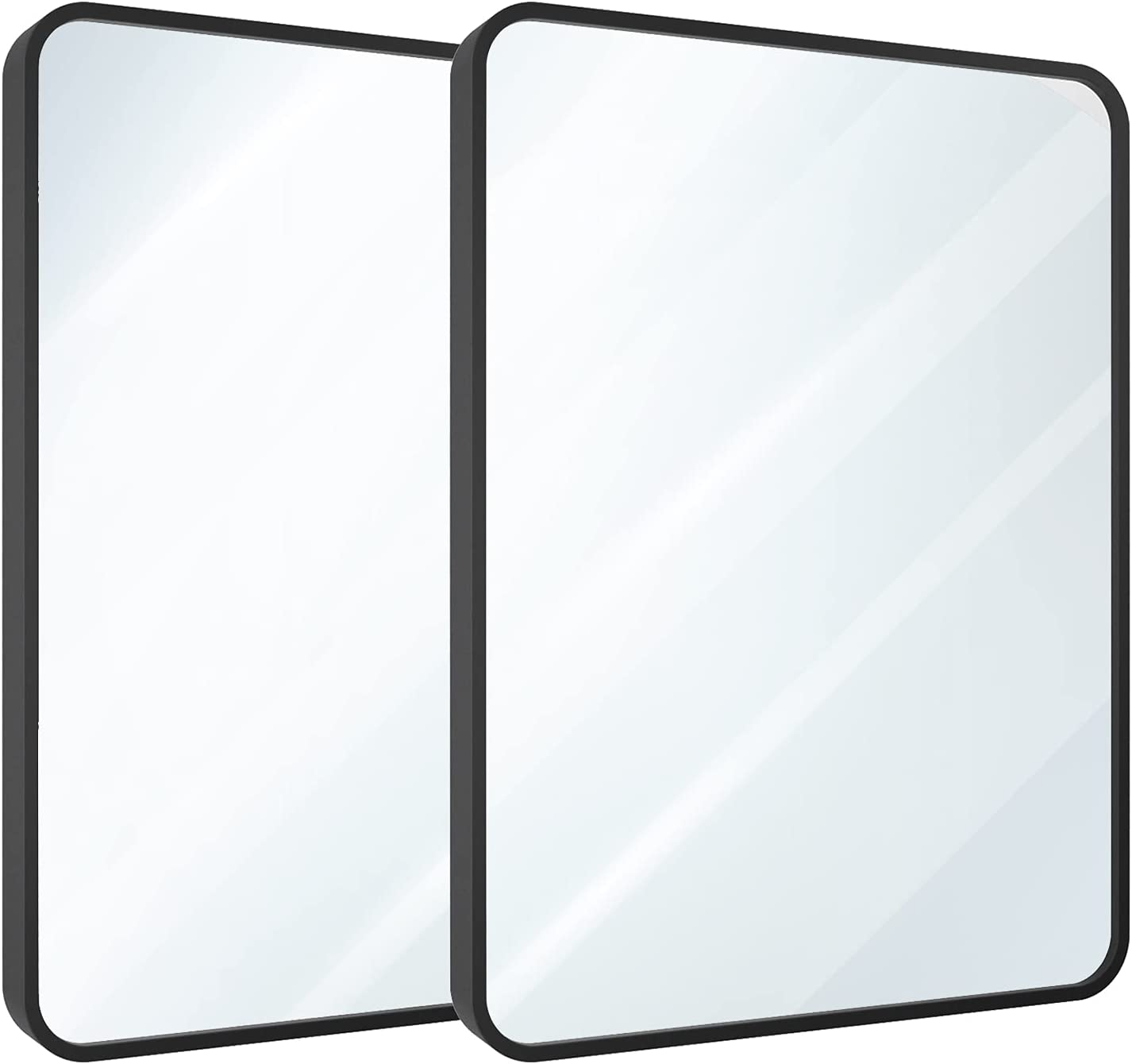 """USHOWER 24"""" x 36"""" Black Rectangle Wall Mirror, Large Metal Frame Decor Mirror for Bathroom, Entryway, Vanity, and More, Rounded Corner, Farmhouse & Modern Style, 2 Pack: Kitchen & Dining"""