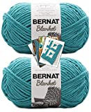 Bernat Blanket Yarn - Big Ball (10.5 oz) - 2 Pack with Pattern Cards in Color (Aquatic)