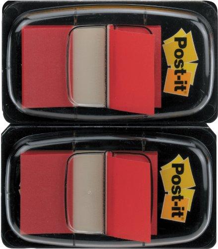 Post-it 680-RD2 Haftstreifen Index Standard, 2 x 50 Haftstreifen im Spender, 25,4 x 43,2 mm, rot