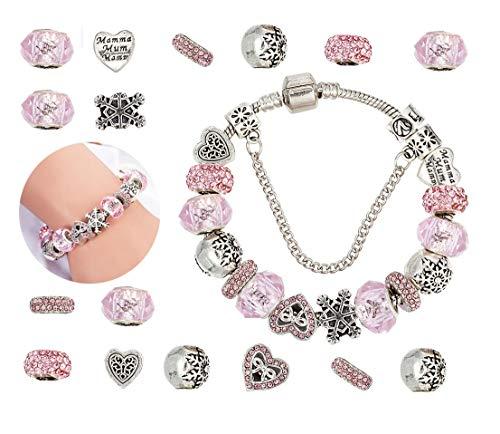 Bracciale da Donna Ragazze DIY Braccialetto Braccialetti con Charm Perle Placcato in Argento Gioielleria Regalo per Compleanno Matrimonio