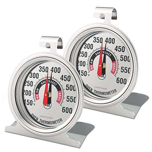 Efeng Large Oven Thermometer for Electric Oven and Gas Oven (2 Packs) -Large Hanging Hook Oven Thermometer with NSF Quality and Non Fading Color dial Within Oven for Long time Baking or Cooking
