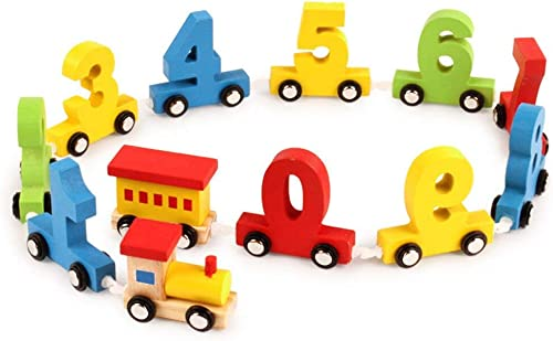 lakshya boy's and girl's wooden digital train blocks toy set- Multi color
