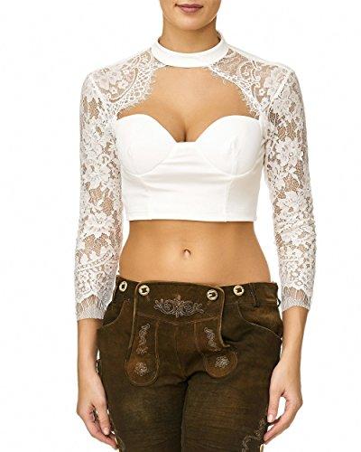 Lalia blouse, dirndlblouse, kan ook zonder dirndl worden gedragen, zwart, chiffon, kant, lange mouwen, super modern, leuk cadeau, korte blouse, extravagant, klederdrachtblouse