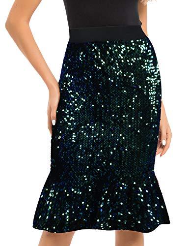 PrettyGuide Women's Sequin Skirt Velvet High Waist Glitter Ruffle Pencil Skirt Formal Dress XL Symphony Green