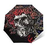 Grate-Ful Dead-Skull And Rose Windproof Automatic Retractable Folding Lightweight Umbrella Travel Umbrella