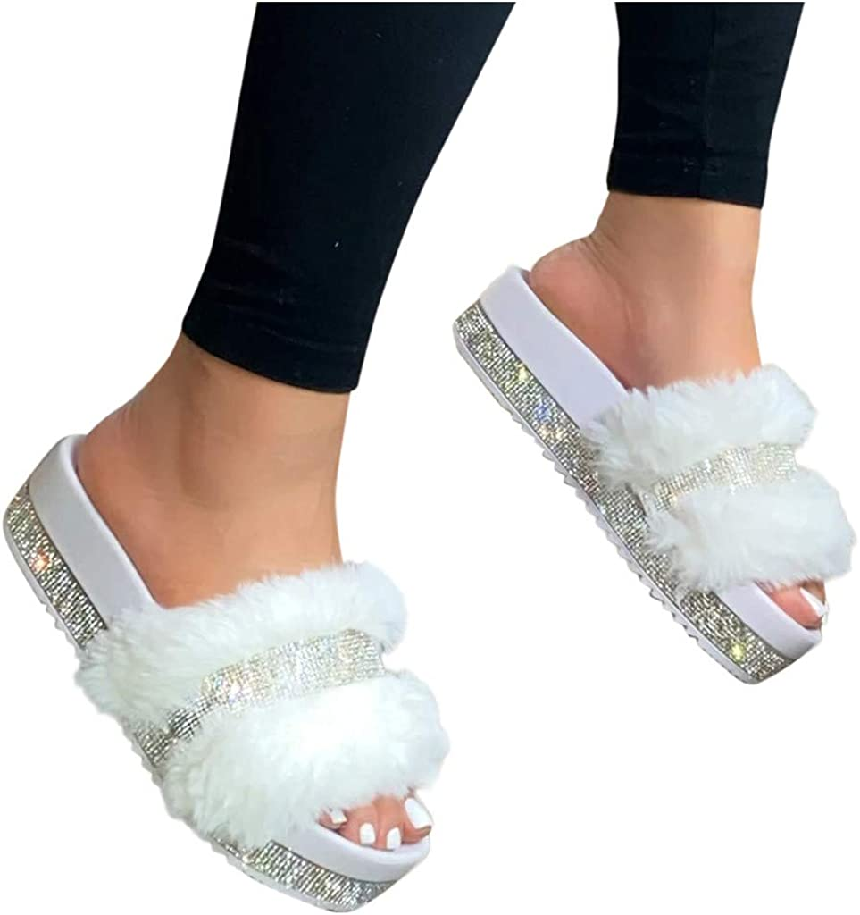 AODONG Slippers for Women, Indoor Outdoor Women's Platforms Rhinestone Fuzzy Fur Warm Shoes House Sandals Casual Flip Flop