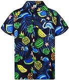 King Kameha Funky Hawaiihemd, Kurzarm, Flamingos Melonen, Schwarz Blaue Flamingos, XXL