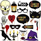 Halloween Photo Booth Props - 2021 New DIY Happy Halloween Decoration and Gift for Trick or Treat Kid Candy Party, Selfie Photo Booth Supplies Favors Kit, Spider Scary Funny Picture Prop with Sticks