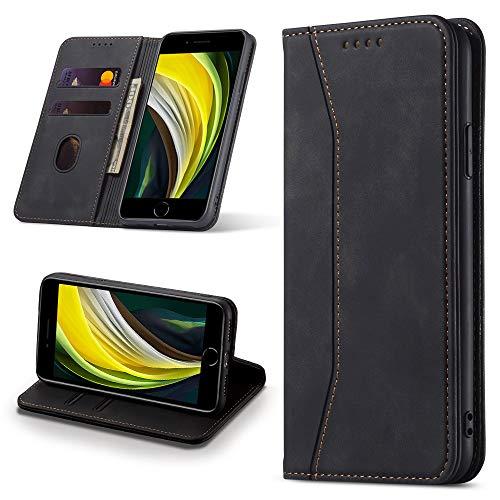 Leaisan Handyhülle für iPhone SE 2020 Hülle, iPhone 8 Hülle, iPhone 7 Hülle, Premium Leder Flip Klappbare Stoßfeste Magnetische [Standfunktion] [Kartenfächern] Schutzhülle Tasche - Schwarz