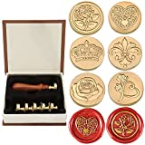 Wax Seal Stamp Set, Yoption 6 Pieces Romantic Rose Heart Flower Sealing Wax Stamps Head Kit + 1...
