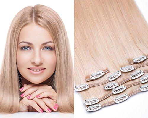 Clip In Extensions 7 – gratuits 45 pièces dans la couleur n ° 24 Blond moyen – Longueur : 35, 40, 45, 55, 60, 70, 80 cm