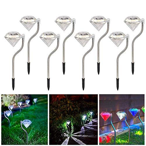 Lampada da Palo Solare Luce Paesaggio Creativo Luci Decorative Esterne Lampada da Giardino Cambia Colore Lampada a LED, 8 Pz [Classe di efficienza energetica A+++]