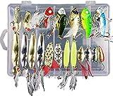 LEAMALLS 21 Piezas Señuelos Pesca Artificial Cebos para Anzuelos Pesca, Cucharillas Pesca Accesorios Aparejos De Pesca para la Pesca Ganchos