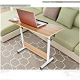 Cibee Adjustable TV Tray Table, Folding Computer Desk Cart 31.5' × 15.7', Folding 180 Degree Rotating TV Dinner Coffee Side Snack End Couch Console Table Laptop Desk (White)