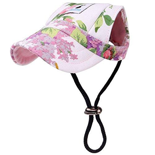 Pawaboo Hunde Baseballmütze, Basecap Verstellbar Sonnenschutz Hut Hundecap mit Ohrlöchern für Welpen Haustier, M, Blumen Violett