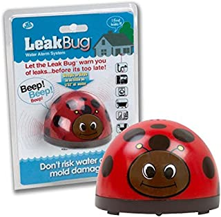 Water Alarm- Leak Bug Flood Detector detects as little as 1/32 Inch of Water- Electronic Overflow Alert Sensor Beeps When Battery is Low