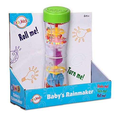 """Dress Up America Playkidz - Juguete sonajero Rainmaker de 8.5 """"para bebés y niños pequeños, Tubo de sonajero para Lluvia para niños y agitador de Palo de Lluvia, Juguete Musical sensorial"""