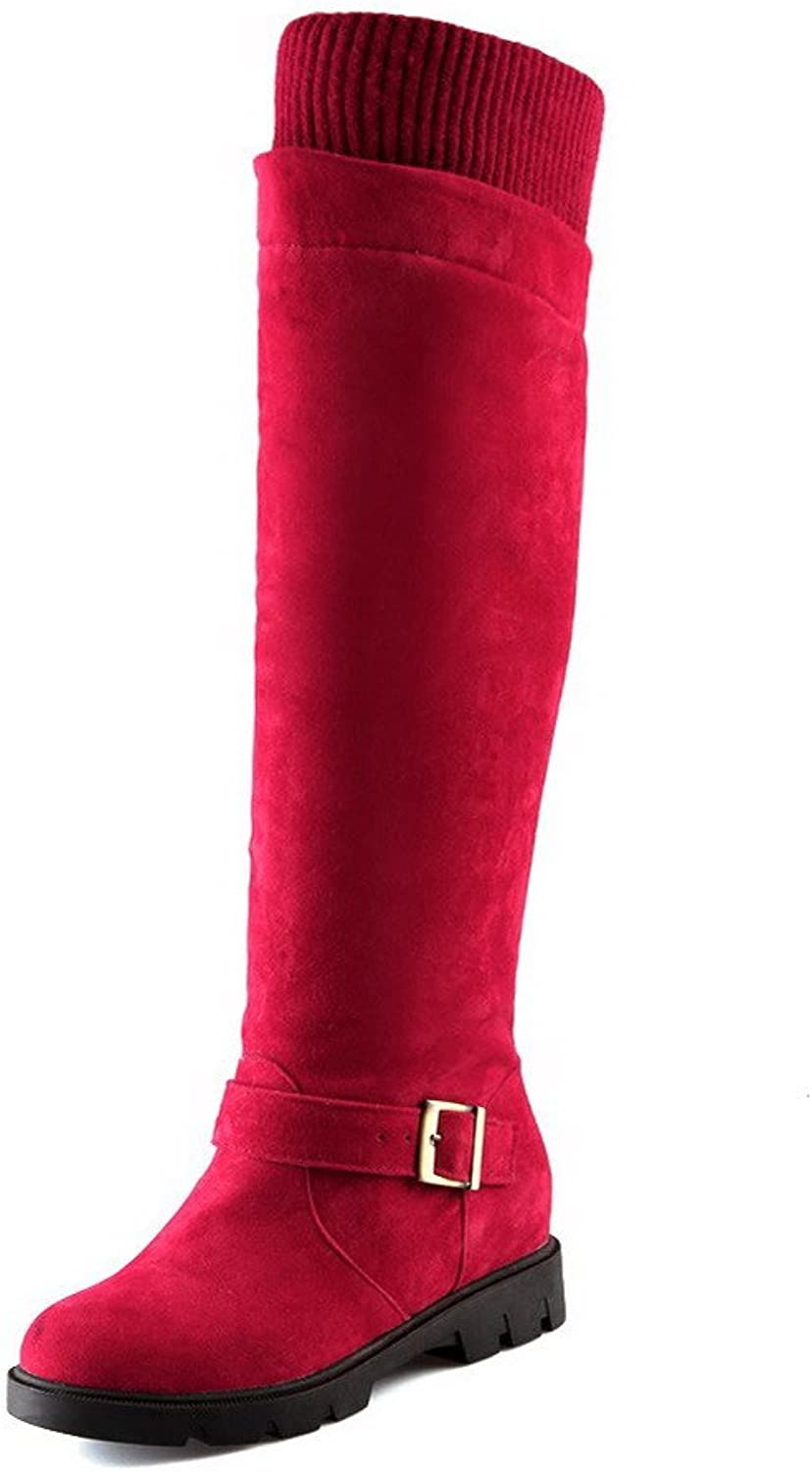AllhqFashion Women's Frosted Round Closed Toe Kitten Heels Pull On Solid Boots