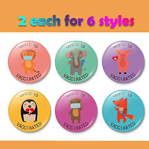 Covid-19 Vaccine Badge Pin with Cartoon Animals for Kids Vaccinated Brooches, Notification CDC Encouraged Clinical and Public Health Pinback Button Badges 1.4 Inch 6styles (12 pcs)