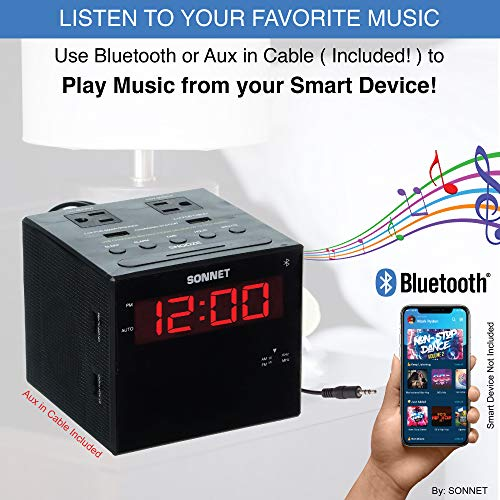 Sonnet Alarm Clock Charging Station, Bluetooth Speaker, AM FM Radio, Dual USB Charging Ports, Dual AC Outlets, Perfect for Side Table, Desk, Bedroom
