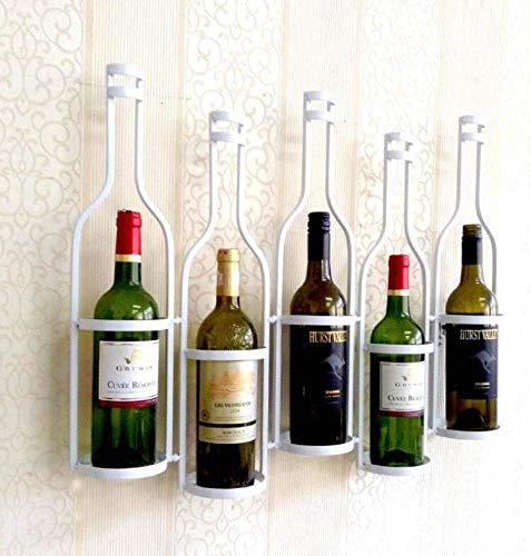 JBNJV An der Wand montiertes 5-Flaschen-Weinregal, schmiedeeiserner Ausstellungsstand Personalisierter Flaschenhalter Aufbewahrungsregal Vintage-Dekorationsflaschen
