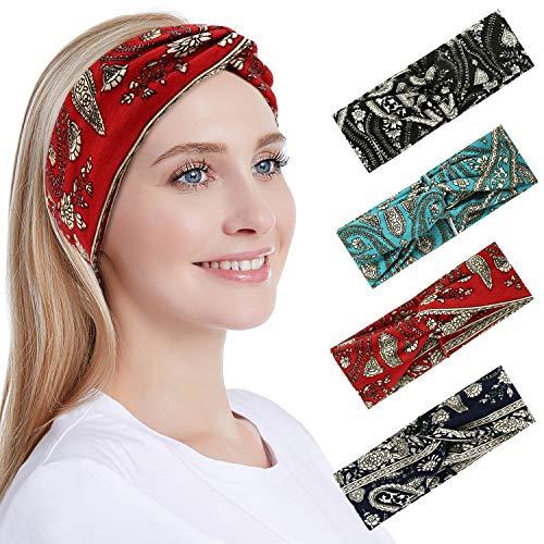 Hotelvs 4 Piezas Cintas Pelo Mujer, Hair Band Vintage Boho Diademas Criss Cross Cintas Pelo con Estampado Headband