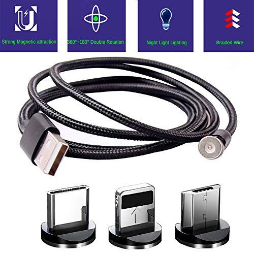 Top-Langere USB Magnetische Opladen Kabel USB C Magnetische Kabel Multi 3-in-1 Kabel Oplader met LED voor Telefoon/Android Geen Synchronisatie Gegevens (Bijgewerkte Versie) 1m Zwart