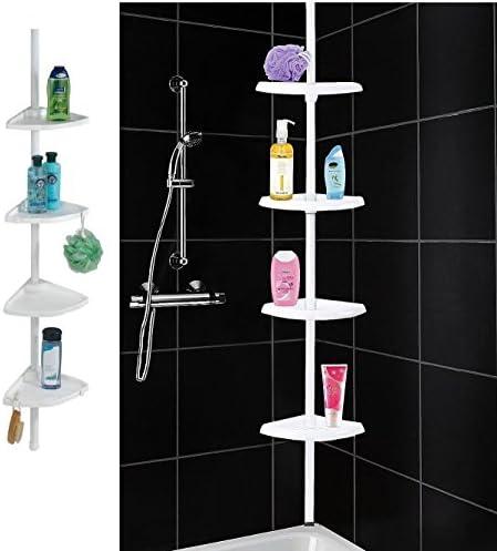 St llion Telescopic Shower Organiser Plastic Caddy Corner Bathroom Rod Rail Shelves White product image