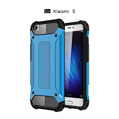Ycloud Etui Schutzhülle für Xiaomi Mi5 Dual Layer 2 in 1 Eisenrüstung Heavy Duty Hybrid Rüstung PC + TPU Kombination Blau Tasche für Xiaomi Mi5