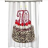 Duschvorhang Antischimmel Waschbar 180X200CM,100prozentStoff Polyester Duschvorhang Textil mit 12 Haken Hochwertiges Duschvorhangringe für Badewanne Und Bathroom(Kuchen Duschvorhang)