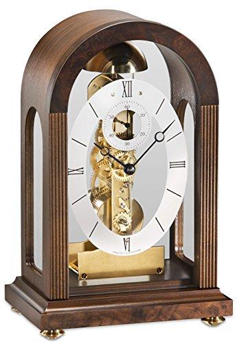 Kieninger Hochwertige mechanische Tischuhr mit Schlüsselaufzug Nussbaum 30cm- 1300-23-01