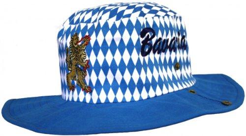 German Wear Bayrischer Hut Trachtenhut Bayernmuster Cowboy Oktoberfest blau, Größe:60