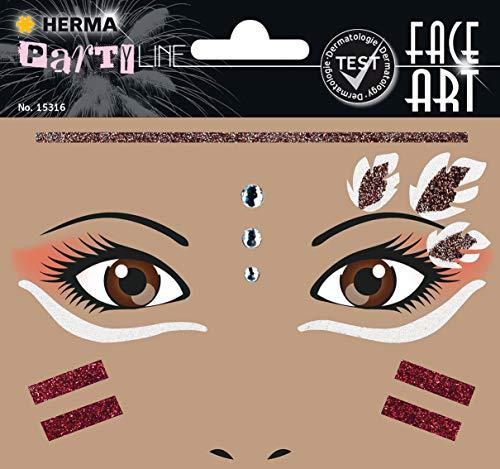 HERMA 15316 Face Art Indianer Gesicht Aufkleber Glitzer Sticker für Fasching, Karneval, Halloween, dermatologisch getestet
