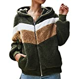 PKTOP Sudadera de felpa con capucha para mujer, de manga larga, con bloque de color