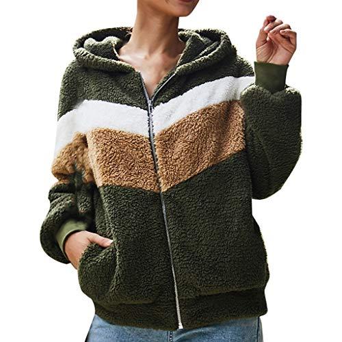 AmyGline Jacke Damen Teddy Fleece Jacke Mit Kapuze Farbblock Plüschjacke Baumwolle Langarm Sweatshirt Kapuzenjacke Warme Winterjacke Groß Größe