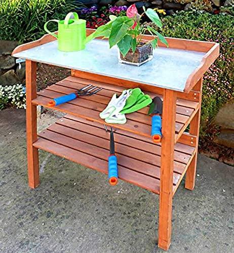 Emanhu Pflanztisch aus Holz Gartentisch Gärtnertisch Metallablage Arbeitstisch