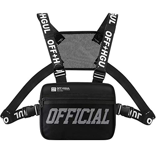 Ousawig Chest Rig Bag Adjustable Shoulder Pack Walkie Talkie Harness Radio Holster Holder for Men Women (Black)